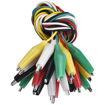 10 Alligator Crocodile Clip Test Leads Jumper Cable Wire 5 Colored Double Ended