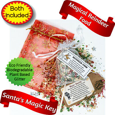 Eco Magic Reindeer Food & Santa key Bag Kids Christmas Eve box Fillers Magical
