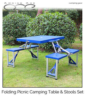 Camping Picnic Patio Foldable Table and Stool Set - Portable Fold Flat Design