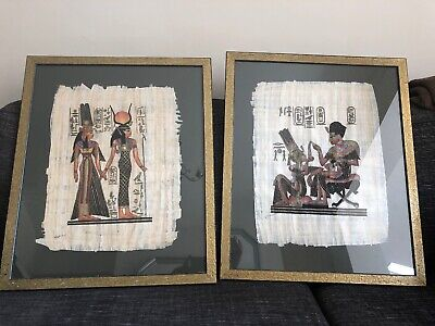 Pair Of Egyptian Papyrus Paintings