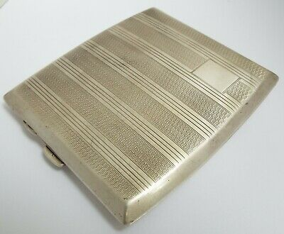 Superb Clean Heavy English Antique Art Deco 1929 Sterling Silver Cigarette Case