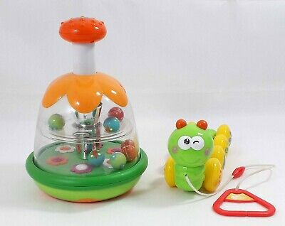 Bundle of Chicco Push Button Rotating Activity Toy & Caterpillar with String Toy