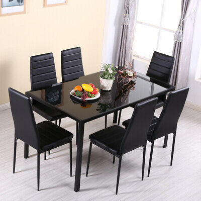 Tempered Glass Top Dining Table Chairs Set Kitchen Dinner Furniture Metal Frame