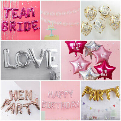 Balloons Foil Star Party Hen Baby Shower Birthday Personalisable Confetti