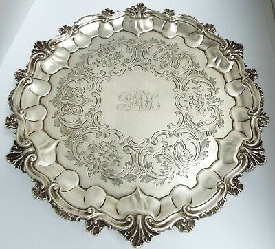 "Superb Large 9"" Heavy English Antique Victorian 1860 Sterling Silver Salver Tray"