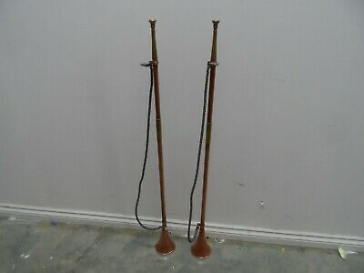 Pair of Vintage Brass and Copper Fanfare Horns  92cm Long   26T