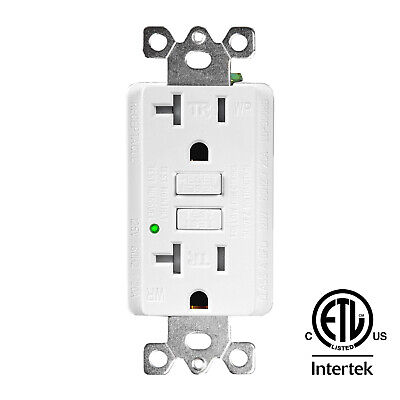 20AMP GFCI Outlet Receptacle Tamper Resistant - ETL Listed, White GFI TR WR GFCI