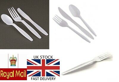 Disposable Plastic Cutlery For Parties Weddings White Forks, Spoons, Knives,