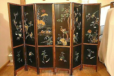 6 Panel Asian/chinese  Floor Screen Mid-Century Stone,ivory 1 Side, Gold Paint