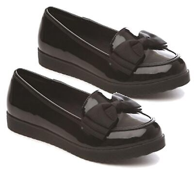 New Girls Childrens Low Heel Bow Loafers Pumps Dolly Ballerina School Shoes Size