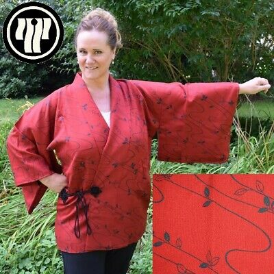 Dochugi Vintage Japanese Woman's XL Kimono Jacket - Red Is My Color