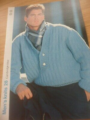 "1734 Mens DK Textured Sweater  38-44/""  Vintage Knitting Pattern"