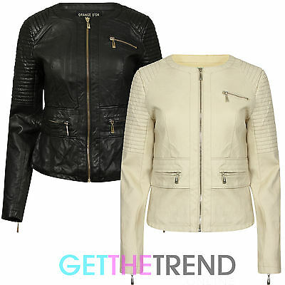 Womens New Faux Leather Jacket Short Cropped Zipped PU Slim Fit Jackets Ladies