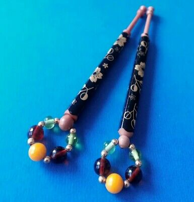 Wood Lace Bobbins. Painted Black with Gilt Flowers. Spangles.