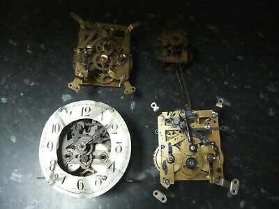 4 Vintage Clock Movements, Foreign, English, Spares, Repair, Steampunk