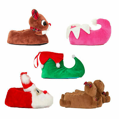 Loungeable Womens Festive Christmas Slippers Novelty 3D Plush Xmas Slip On Shoes