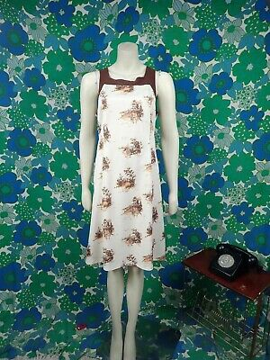 V36 Ladies Vintage 1970's Dress Cream/Brown Size 16 Tunic Dress