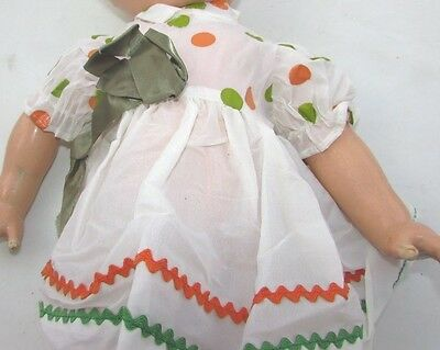 """Doll Clothes Dress Coin Dot Rick Rack Toddler Baby Dolls 18"""" 19"""" Vintage 1950s"""