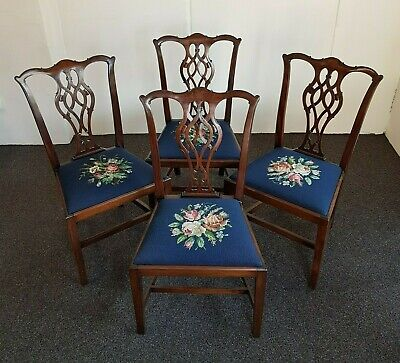 Set of Four Antique Dining Chairs – English, Mahogany, Late Victorian, Georgian