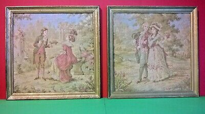 Pair of Vintage French Framed Embroidery / Tapestry Pictures Georgian Style R906