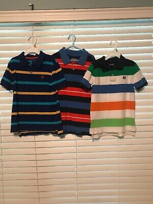 Chaps Ralph Lauren Size 7 Lot Boys Polo Shirts Lot Of 3 Nice Condition Striped