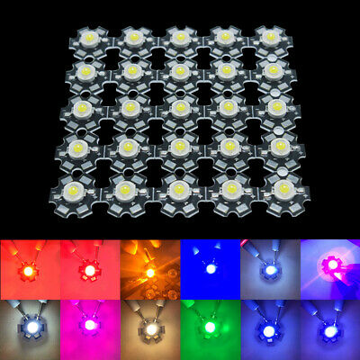 25pcs 3W High Power LED Chip Energy Saving Lamp Beads Bulbs + PCB Star Base