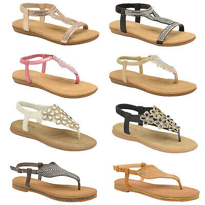 Womens Dunlop Diamante Sandals Ladies Cushioned Flat Slingback Memory Foam Shoes