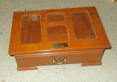 Vintage Wood With Leather Inlay Jewellery Box Emerald Green Lining Drawer Tray
