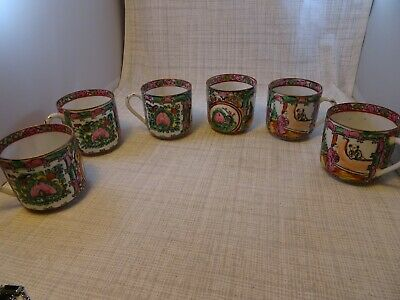 Lot of 6 VINTAGE ASIAN JAPAN GESHIA HAND PAINTED PORCELAIN TEA CUPS