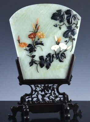 Fine Quality Antique Chinese Jade Agate Hardstone Table Screen Stand Plaque