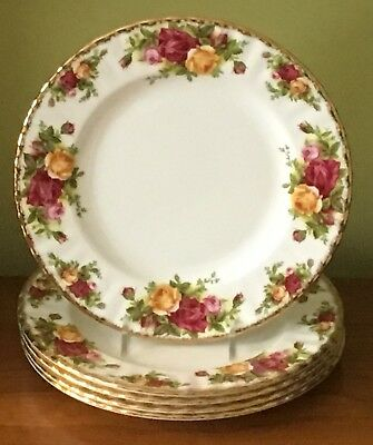 "Royal Albert Old Country Roses Fine Bone China 8"" Salad Plate Set of 6 Gorgeous"