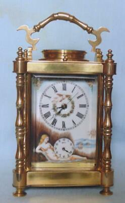Antique French Carriage Clock Repeater Alarm With Erotic Decoration