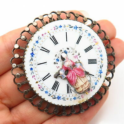 925 Sterling Silver Antique Victorian Watch Dial Pin Brooch / Pendant