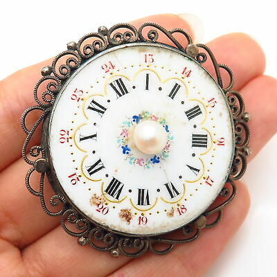 925 Sterling Silver Antique Victorian Real Pearl Watch Dial Pin Brooch / Pendant