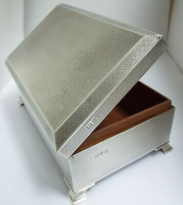 Stunning Large Clean English Antique 1946 Sterling Silver Cigarette Box On Feet