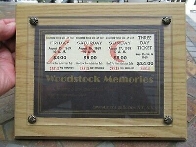 Certified Mint and Unused 3 Day Woodstock Ticket $24 August 15-17 1969, Framed