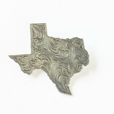 Max Lang Sterling Silver Texas State Brooch Vintage Hand Engraved Pin