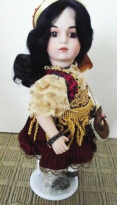 ANTIQUE REPRODUCTION 11 in BRU SHANDELE MINIATURE FULL BODY PORCELAIN DOLL NEW