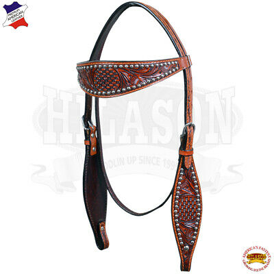 Western Headstall Horse Tack Bridle American Leather Antique Mahogany U-4-HS
