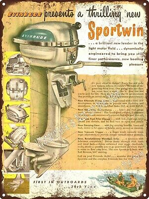 """1948 EVINRUDE MOTORS SPORTWIN OUTBOARD MOTOR Boat EngineMetal Sign 9x12"""" A269"""