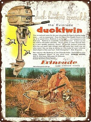 """1967 EVINRUDE MOTORS DUCKTWIN OUTBOARD MOTOR Boat Engine Metal Sign 9x12"""" A270"""