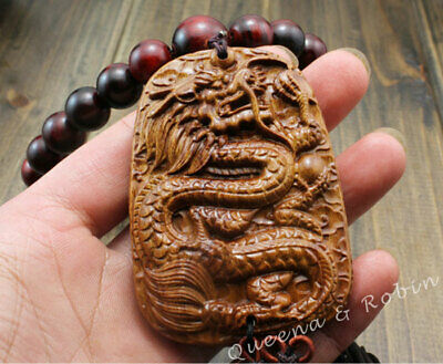 Chinese RoseWood Carving Dragon Statue Sculpture Prayer Beads Car Pendant Amulet