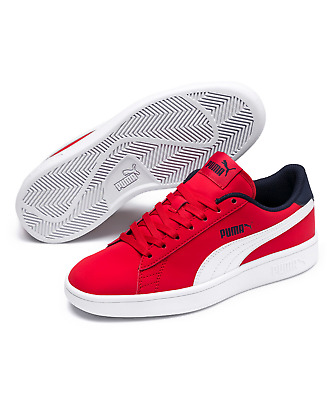 Puma Girls Size 4 Youth High Risk Red & White Smash V2 Buck Jr. Sneakers Nwob