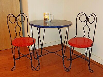 Vintage kids' wrought-iron table and 2 chairs. Great for tea parties, more.
