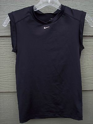 NIKE Dri Fit Girls Athletic Sports Shirt Top Sz M 8 10 Solid Black Sleeveless