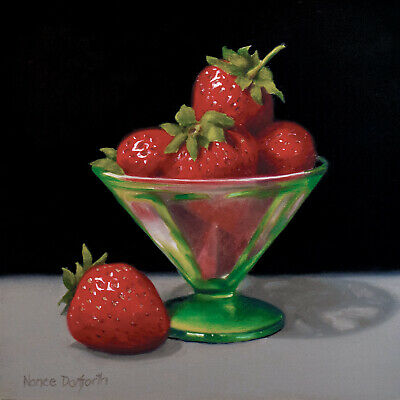 DANFORTH SALE!  Strawberries In Green Glass 6x6 still life realism oil painting