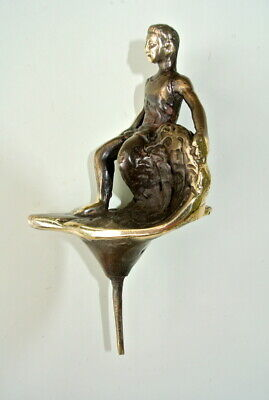 """Brass TINY SURFER statue heavy vintage old style TROPHY SURF 10 cm 4"""" surfing B"""
