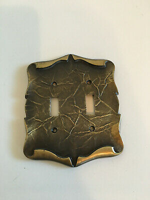 Bronze Metal Switch Plate 2 Double Toggle Switches Mid Century Vintage
