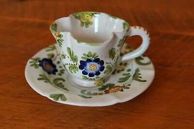 Unused Vintage Cantagalli Faience Italy Demitasse Cup & Saucer - Rooster Mark