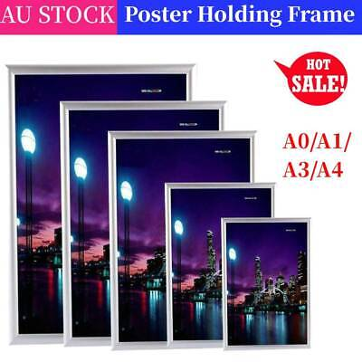 A0/A1/A3/A4 Premium Aluminum Snap poster frame Sign holder wall mount Silver AU